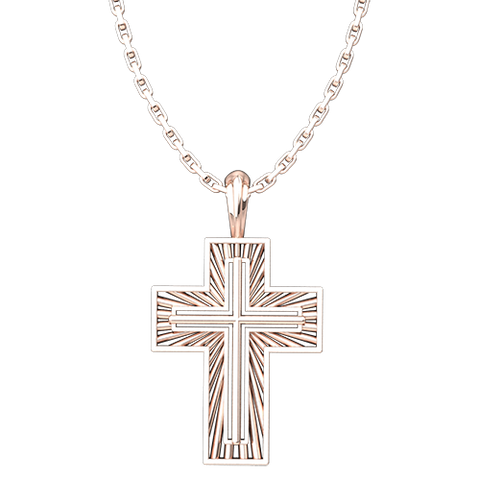 "Shining Radiant Cross Pendant, Rose Gold Plated Sterling Silver Pendant and 18"" Chain"