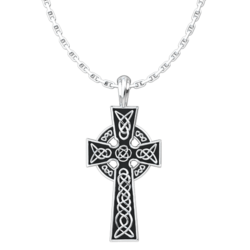 Celtic Cross Sterling Silver Pendant - 18 Inch Chain