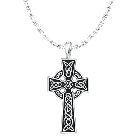 Celtic Cross Pendant, Sterling Silver Pendant and 18 Inch Chain
