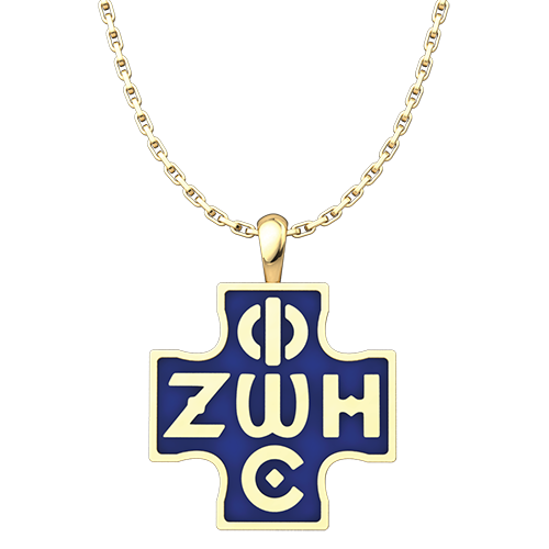 Phos Zoe Pendant with Blue Enamel, Gold-Plated Sterling Silver Pendant and 18 Inch Chain