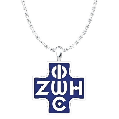 Phos Zoe Pendant with Blue Enamel, Sterling Silver Pendant and 18 Inch Chain