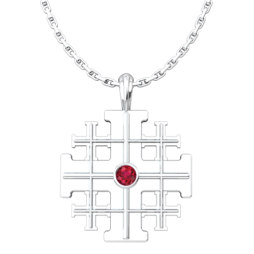 Jerusalem Cross with CZ Ruby, Sterling Silver Pendant - 18 Inch Chain