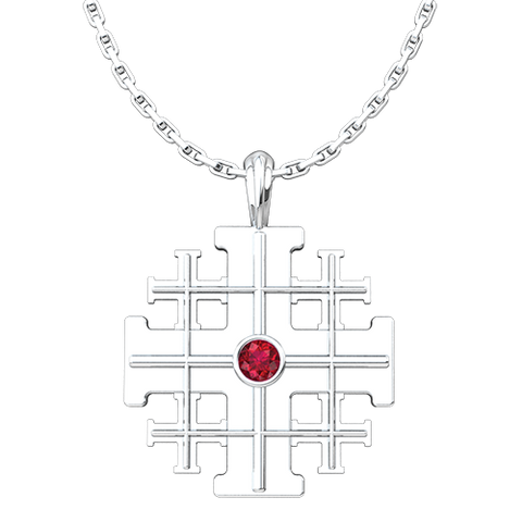Jerusalem Cross Pendant with CZ Ruby, Sterling Silver Pendant and 18 Inch Chain