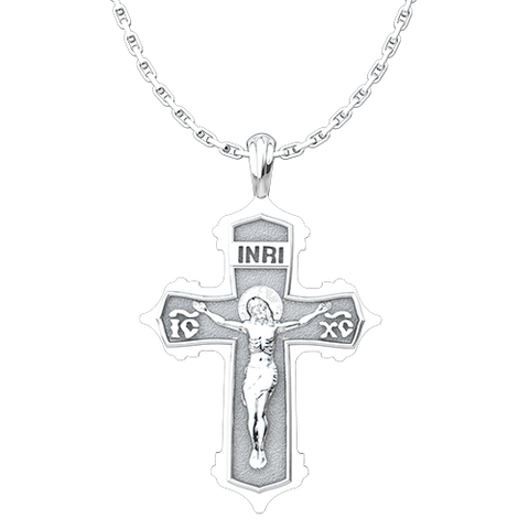 INRI IC XC Cross & Crucifix Sterling Silver Pendant with 18 Inch Chain