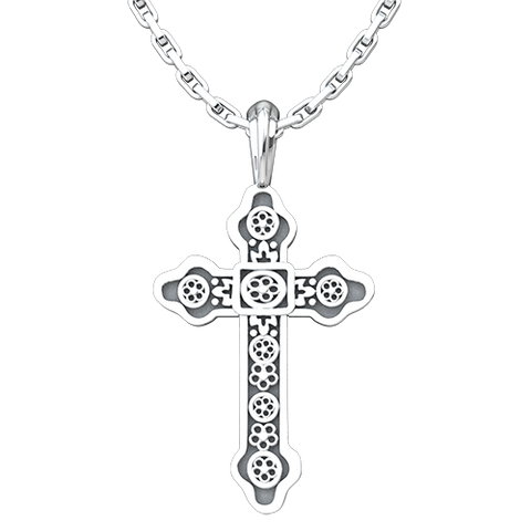 The Old Stone, Antioch Cross Pendant, Sterling Silver Pendant and 18 Inch Chain