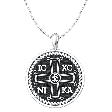 IC XC NIKA Round Pendant with Chi Rho Symbol, Sterling Silver Pendant and 18 Inch Chain