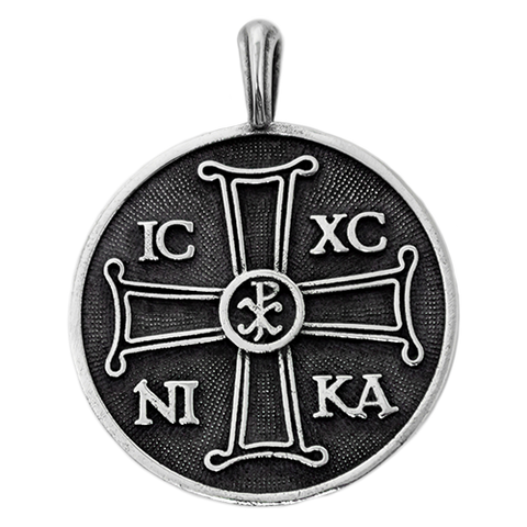 IC XC NIKA Chi Rho Large Round Pectoral Pendant, Sterling Silver (No Chain)