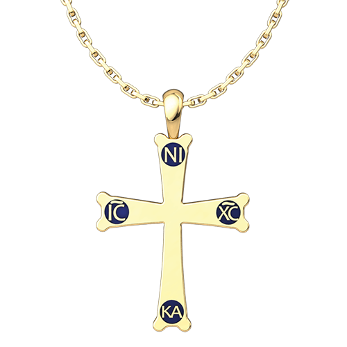 Mount Sinai Cross Pendant, Gold-Plated Sterling Silver Pendant and 18 Inch Chain