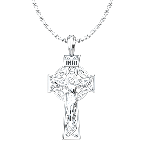 Celtic Cross and Crucifix Pendant, Sterling Silver Pendant and 18 Inch Chain