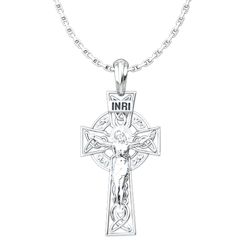 Celtic Cross and Crucifix Sterling Silver Pendant and 18 Inch Chain