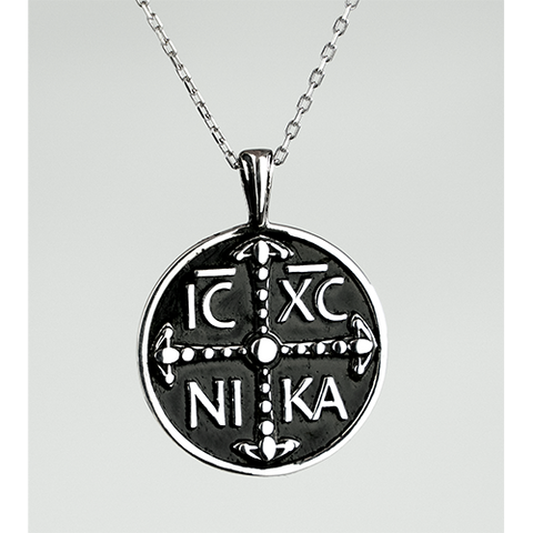 IC XC NIKA Round Pendant, Sterling Silver Necklace and 18 Inch Chain