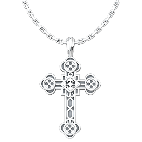 Antiochian Cross Pendant, Sterling Silver Pendant and 18 Inch Chain