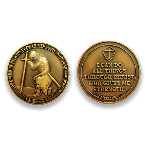 "Task Ahead Coin:  Front: Kneeling templar knight, with the text ""Greater is he who is in you than he who is in the world."" / ""1 John 4:4""  Back: Cross in the shield, with the text ""I can do all things through Christ who gives me strength. Philippians 4:13"""