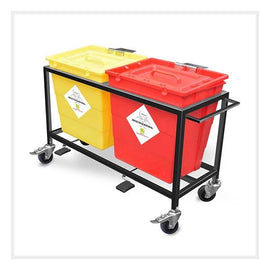 Waste Segregation Trolleys (Mild Steel) 30 Ltr two compartment