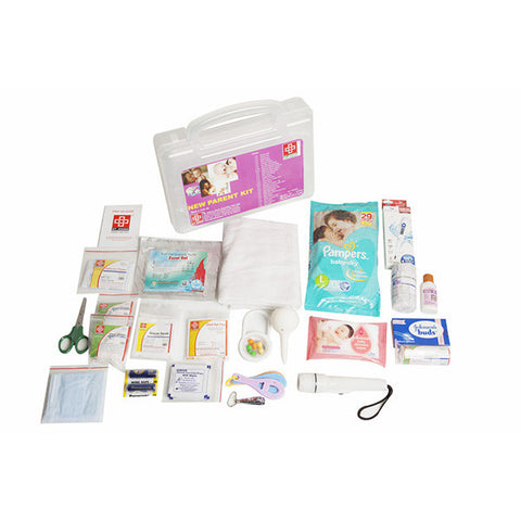 New Parent First Aid Kit - Plastic Box Medium Handy - Transporent - 62 Components - Suitable For Parent - SJF Np - St Johns First Aid Kit