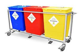 Bio-West Collect Trolley - 3 Plastic Drum - Colour Coading Stain Steel