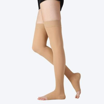 CPS-3304 Thigh high compression stockings with silicone lace band (Open toe)