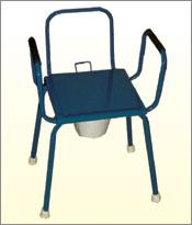 Commode Stool with Arm And Back Rest M.S. Top