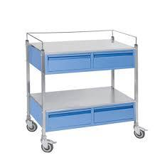 Drug Trolley - MS - Dlx with Drowers & Hippo Bins Powder Coated