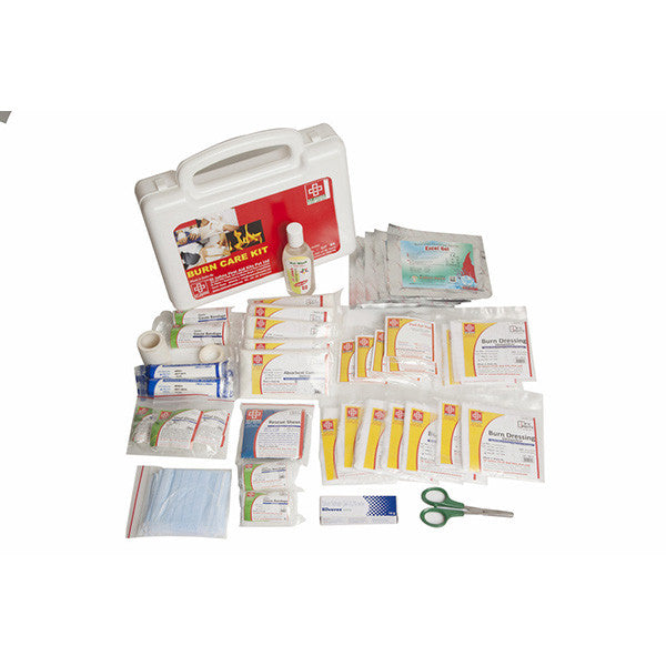Burn Care First Aid Kit - Plastic Box Medium Handy - White - 44 Components - SJF BK - ST Johns First Aid Kit