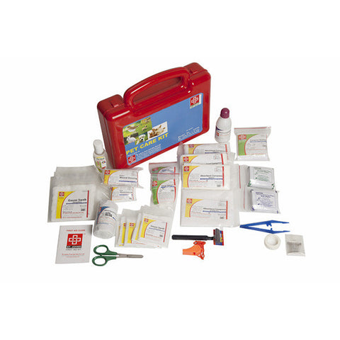Pet Care First Aid Kit - Plastic Box Medium Handy - Red - 67 Components - SJF PK - St Johns First Aid Kit