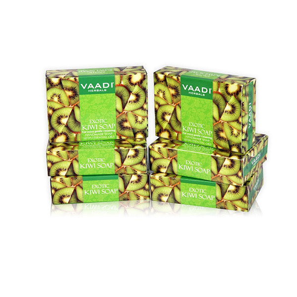 Super Value Pack of 6 EXOTIC KIWI SOAP with Green Apple extract (5 + 1 FREE)