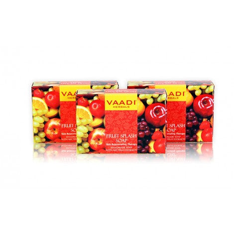 Super Value Pack of 6 FRUIT SPLASH SOAP with extracts of Orange, Peach, Green Apple & Lemon (5 + 1 FREE)