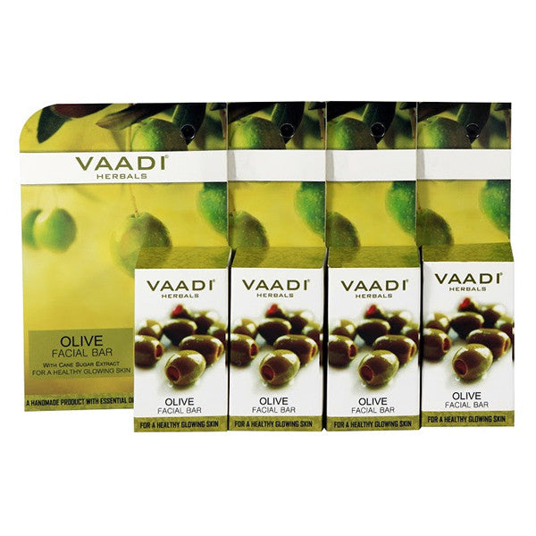 Value Pack of 4 Olive Facial Bars with Cane Sugar Extract