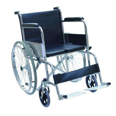 Wheel Chair Folding with Fixed Arm Rest and Foot Rest - Folding Hard Seat FS809Y