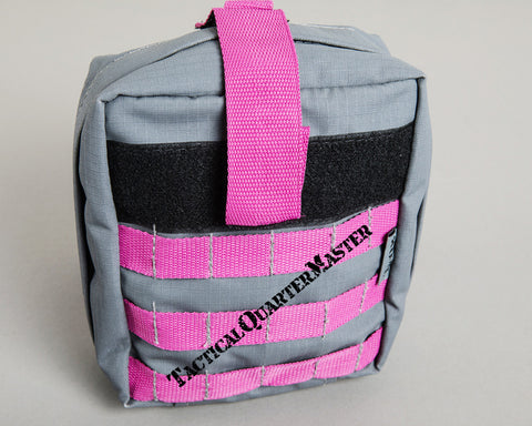 Individual First Aid Kit Molle Bag-Grey with Pink Trim