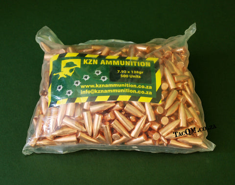 KZN AMMO 138gr 7.92 CMJ Bullets Pack of 500 bullets