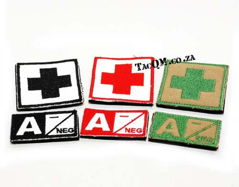 Set: A- Blood Type Patch with Velcro Backing
