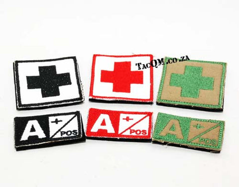 Set: A+ Blood Type Patch with Velcro Backing