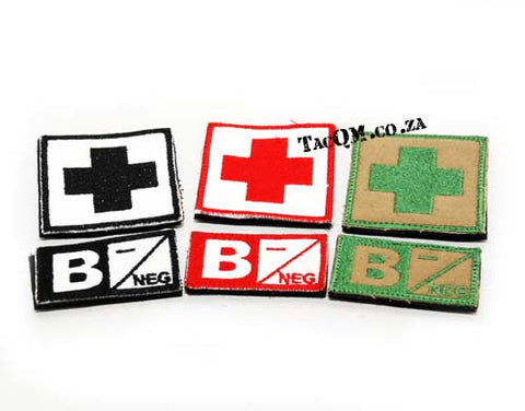 Set: B- Blood Type Patch with Velcro Backing