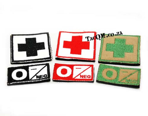 Set: O- Blood Type Patch with Velcro Backing