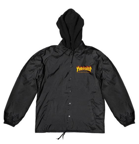 Thrasher, Flame Logo Coach Jacket - Black - Northside