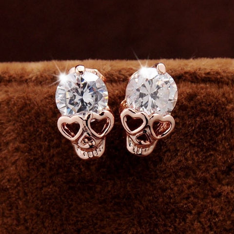 Diamond Skull Stud Earrings