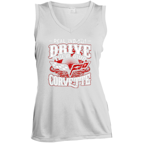 Real Women Drive Their Own Corvette - Ladies' Sleeveless Moisture Absorbing V-Neck