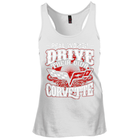 Real Women Drive Their Own Corvette Junior's Racerback Tank Top