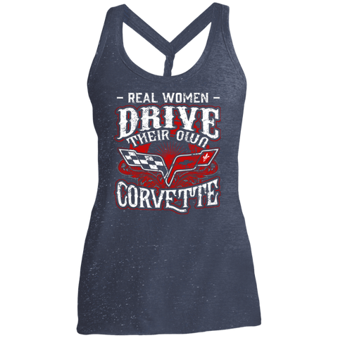 Real Women Drive Their Own Corvette -  Ladies Cosmic Twist Back Tank