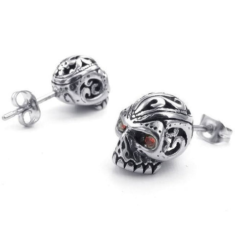 Cubic Zirconia Skull Stud Earrings
