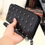 New Fashion Skull Leather Wallet Clutch Bag