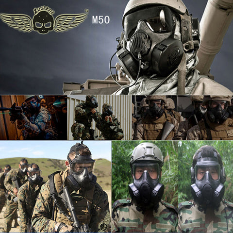 High Quality Tactical Wargame Paintball Full Face Gas Mask with Fan