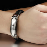 Stainless Steel Leather Mix Bracelet Cross Pattern