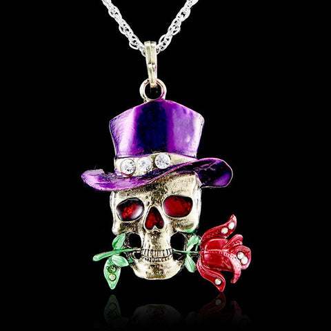 Long Chain Gothic Skull Rose Necklace