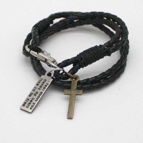 Wonderful Charm Leather Bracelet with Cross
