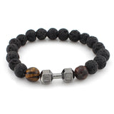 8mm Black Matte Agate Stone Beads Fitness Dumbbell Bracelet
