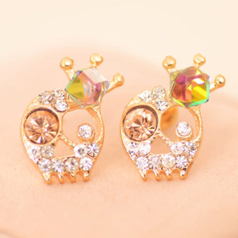 Skeleton Earrings with Shiny Crystal Crown