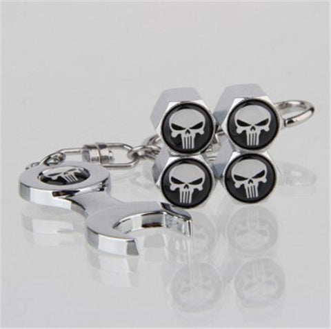 The Punisher Valve Caps + Keyring