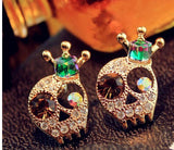 Shiny Cystal Skull Stud Earrings